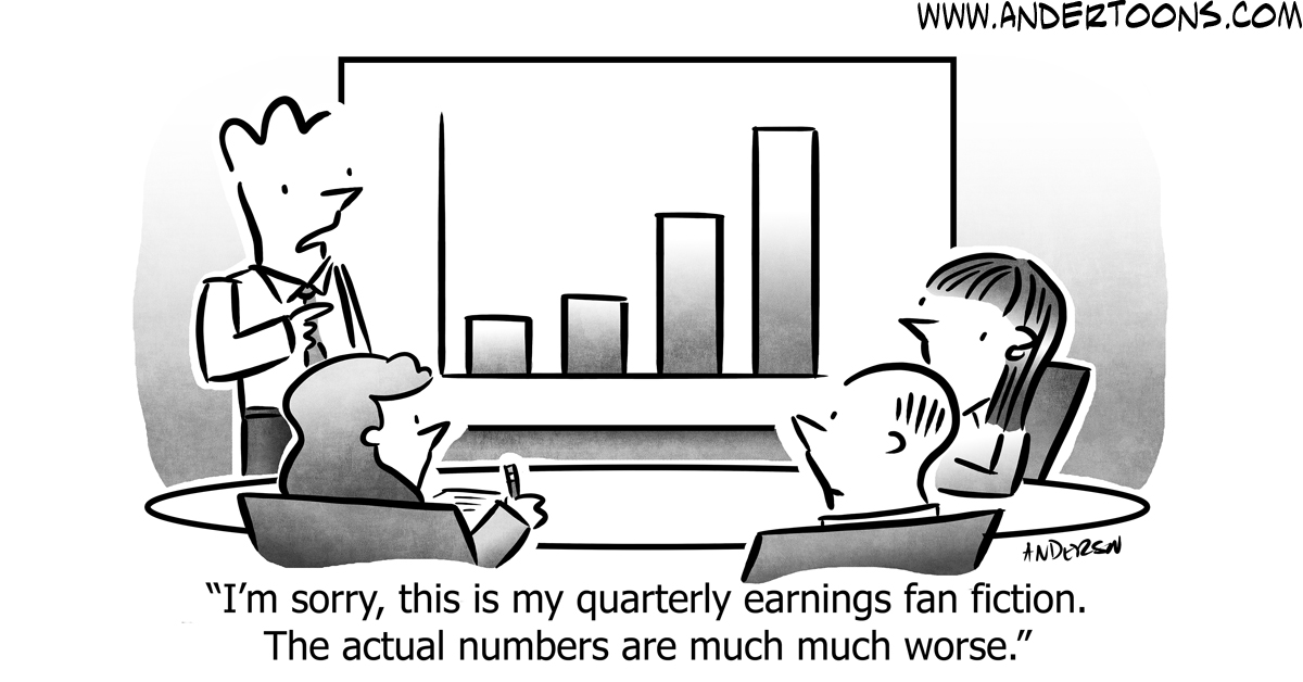 quarterly earnings cartoon