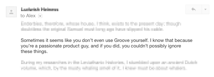Groove Product Feedback Email