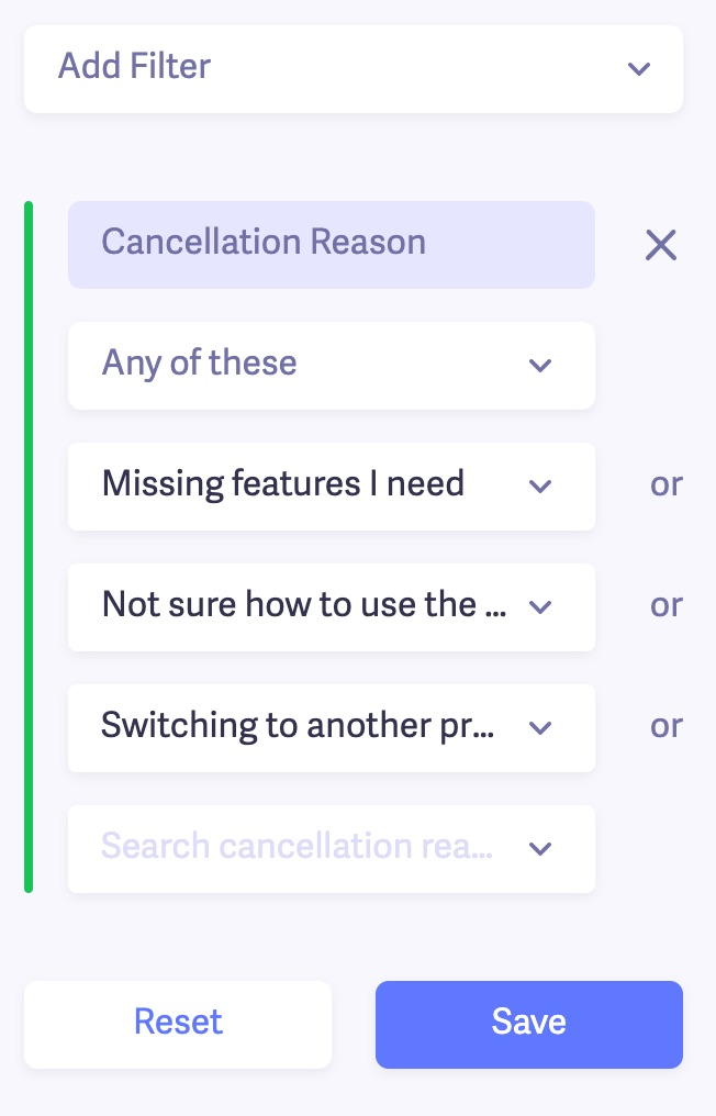 cancellation reason filter example