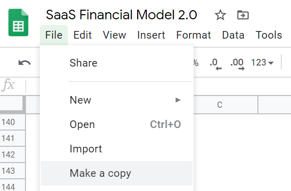 copy saas financial model template