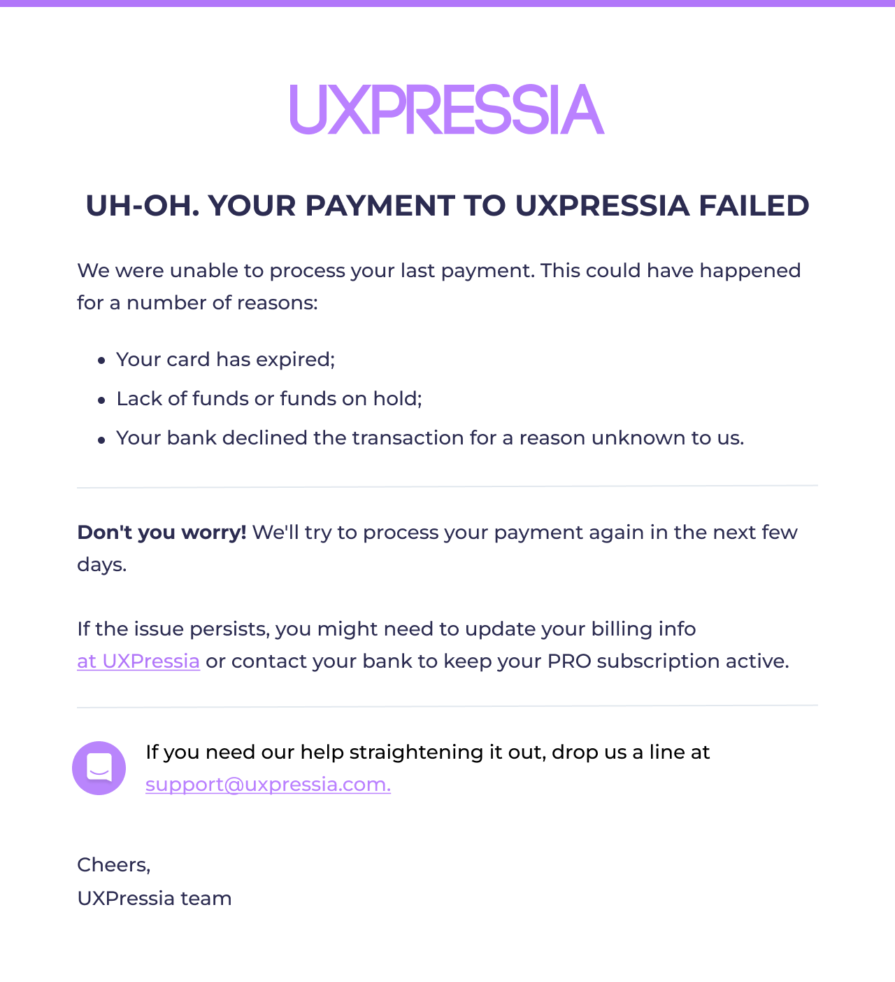uxpressia dunning email