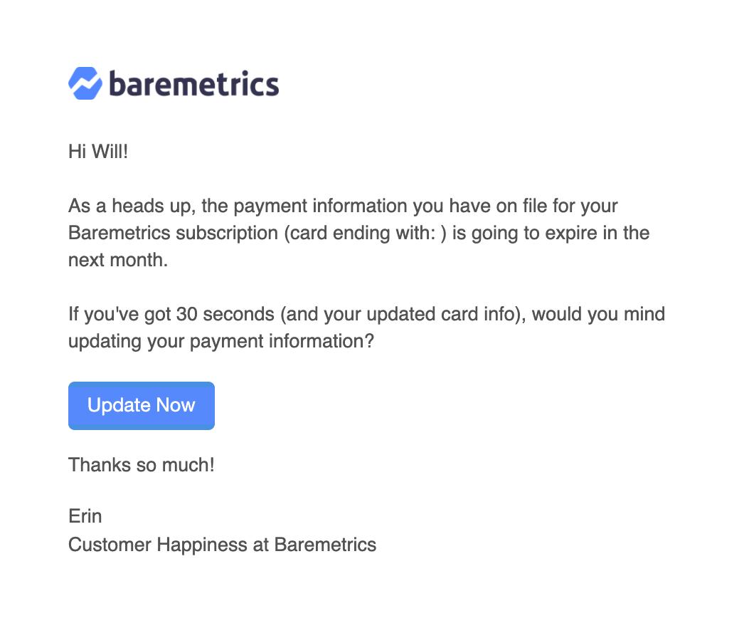 baremetrics predunning email 30 days