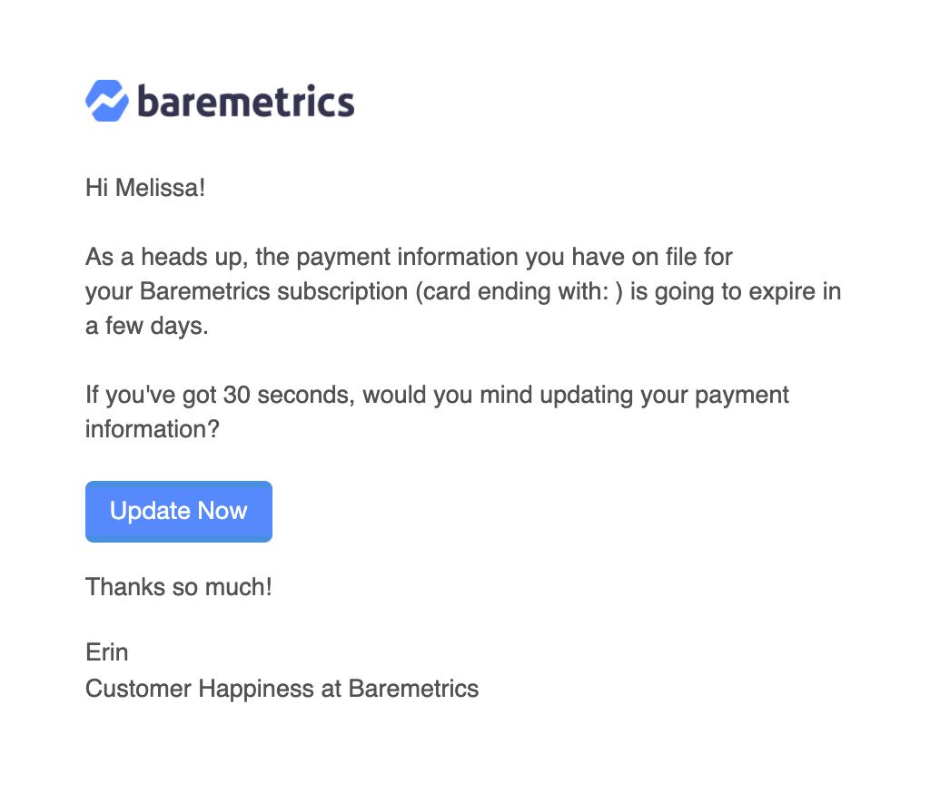 baremetrics predunning email 7 days