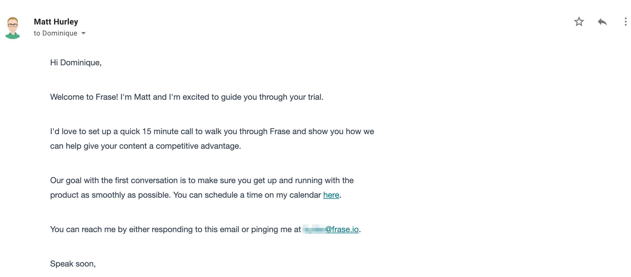 fraseio call setup email