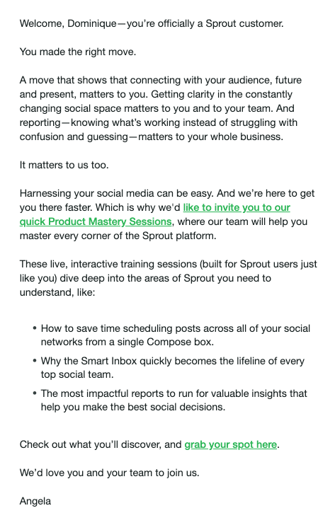 sprout social onboarding welcome email