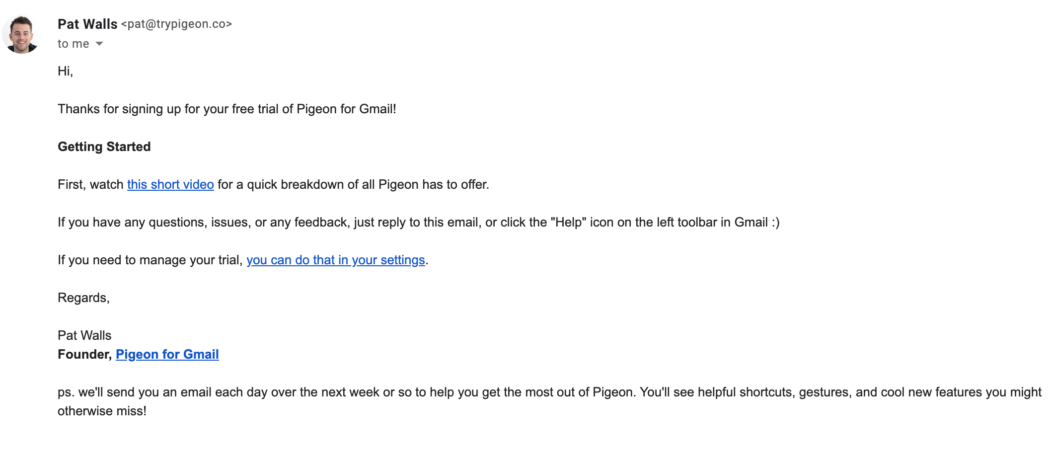 pigeon onboarding email