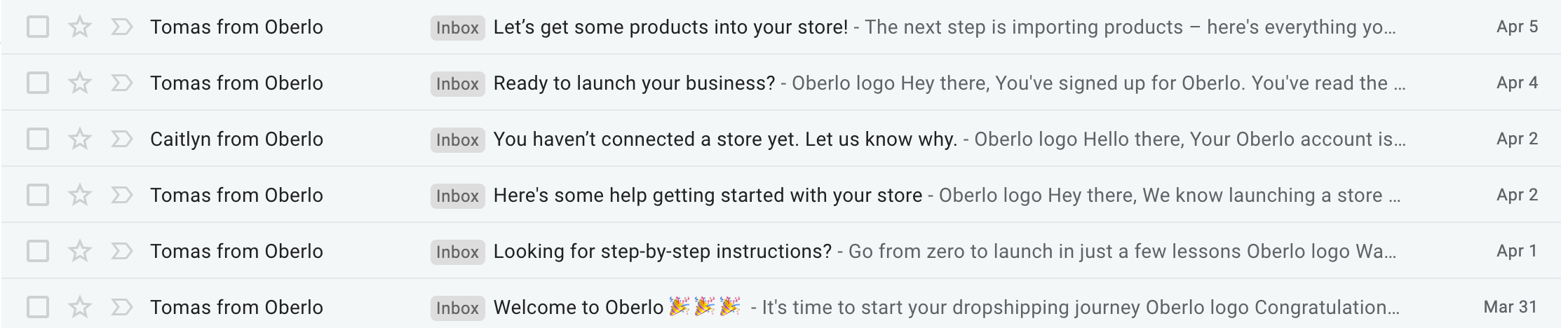 Oberlo welcome emails