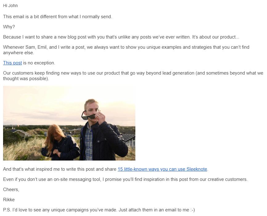 sleeknote onboarding email