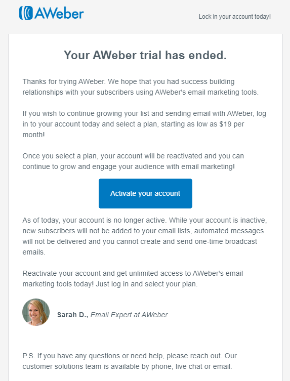 Aweber onboarding email
