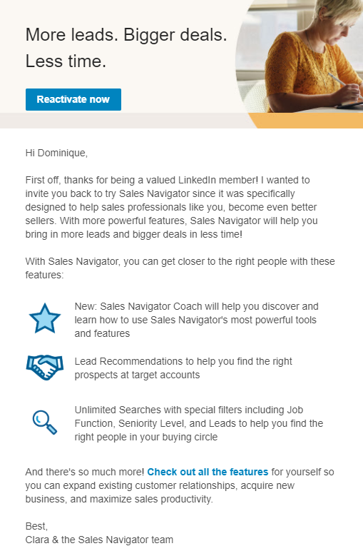 linkedin winback email