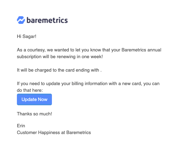 baremetrics annual subscription renewal email