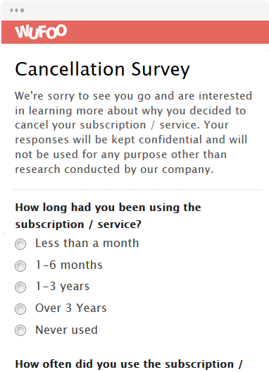 wufoo cancellation survey