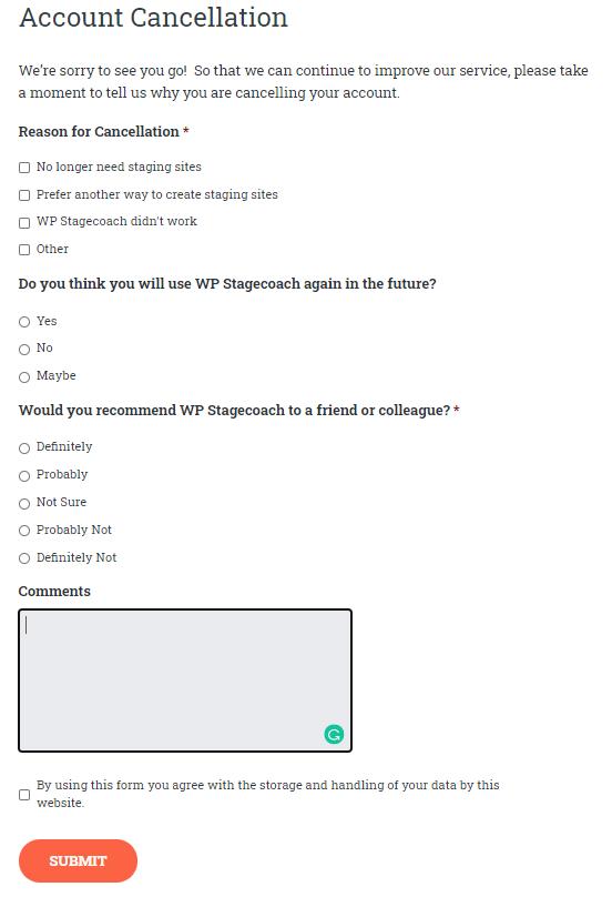 wpstagecoach cancellation survey