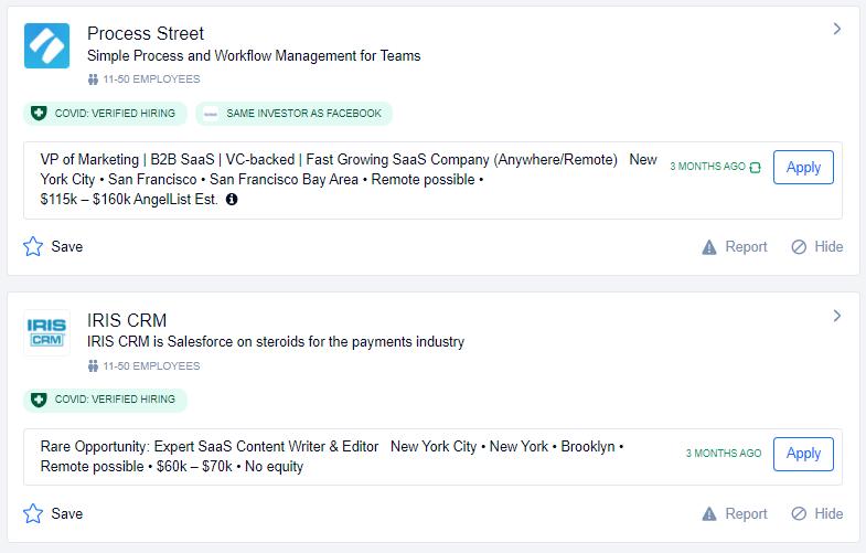 Saas job listing