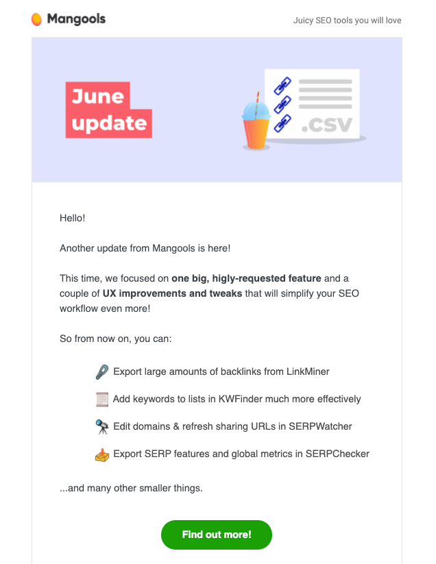 mangools monthly email