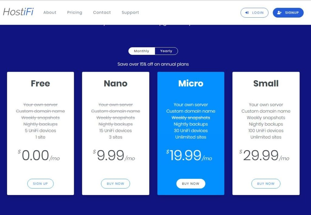 SaaS pricing models and strategies example: HostiFi new pricing page