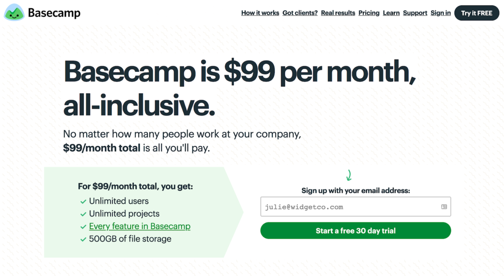 SaaS pricing models and strategies example: Basecamp pricing page