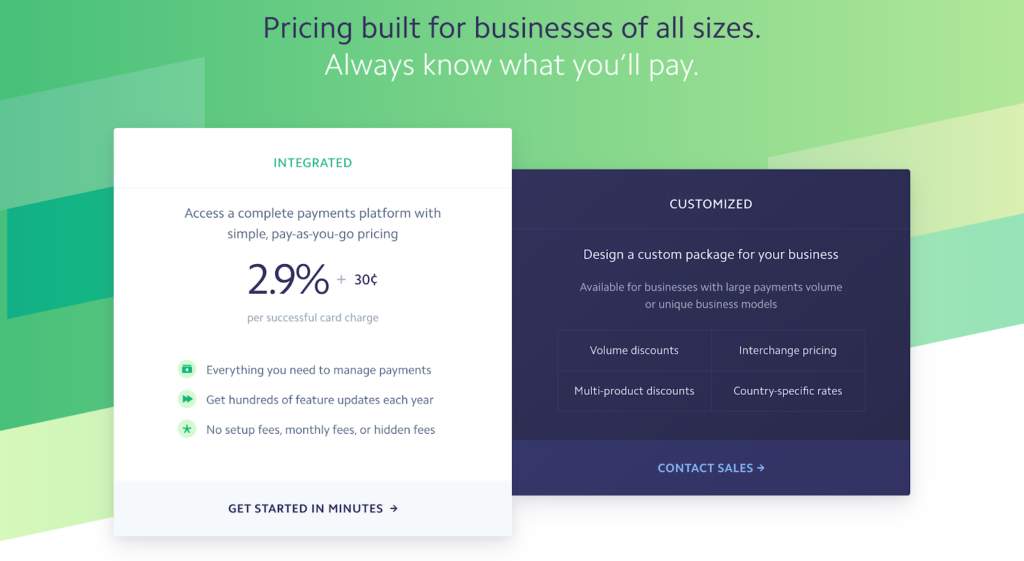 SaaS pricing models and strategies example: Stripe pricing page