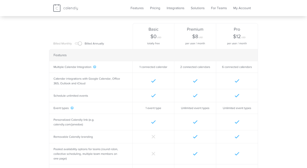 SaaS pricing models and strategies example: Calendly pricing page