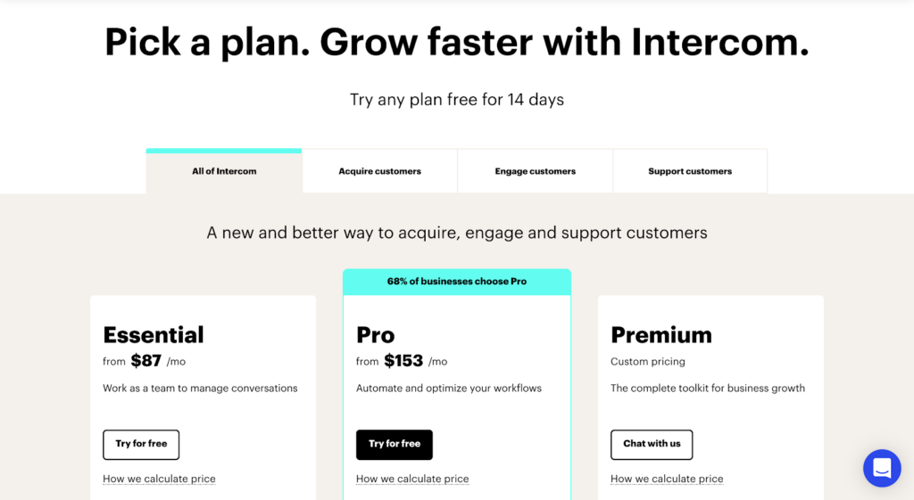 SaaS pricing models and strategies example: Intercom pricing page