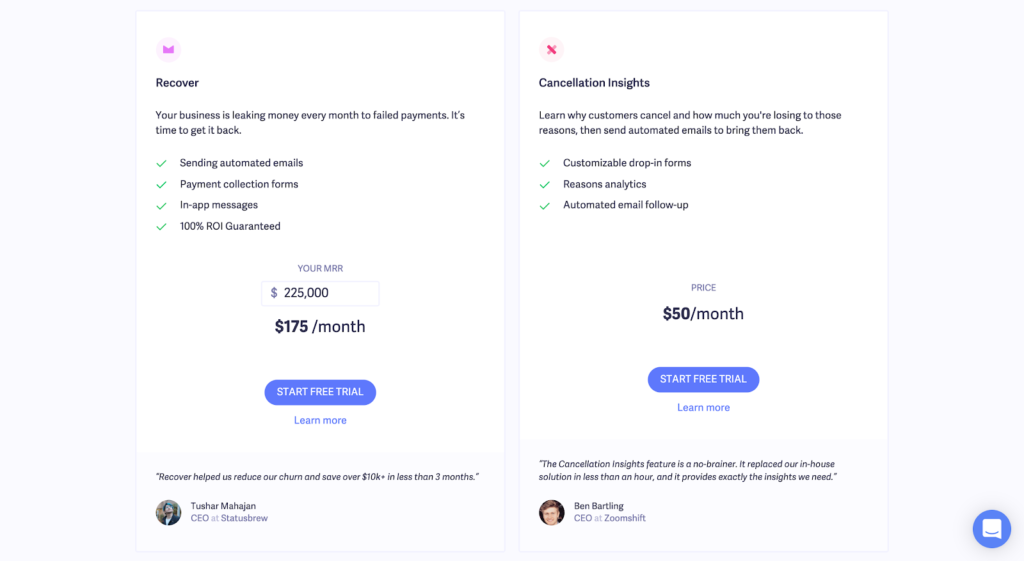 SaaS pricing models and strategies example: Baremetrics pricing page