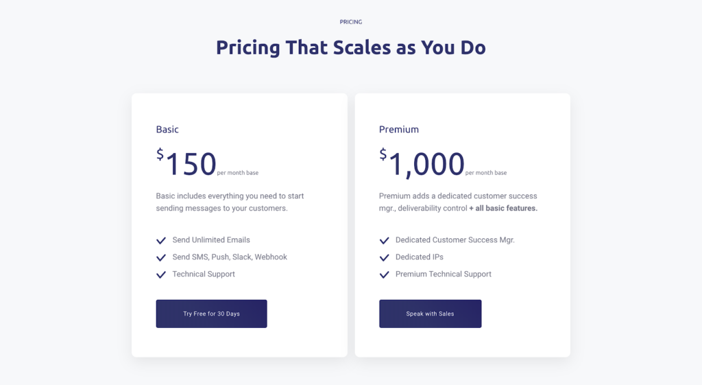 Activation model example: Customer.io pricing page free trial
