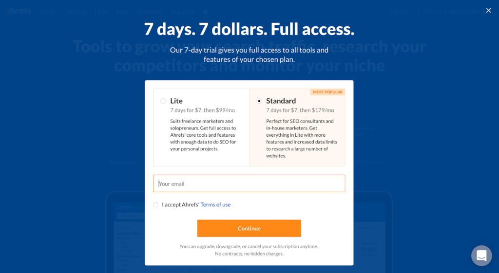 Activation model example: Ahrefs paid trial