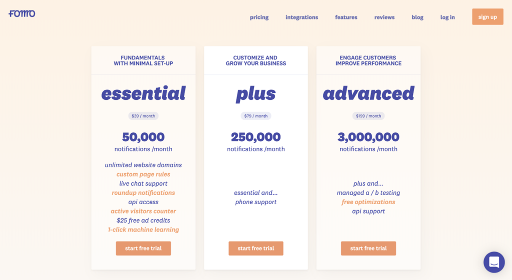 SaaS pricing models and strategies example: Fomo pricing page