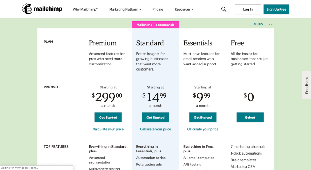 Activation model example: Mailchimp pricing page