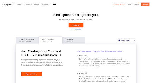 Activation model example: Chargebee pricing page