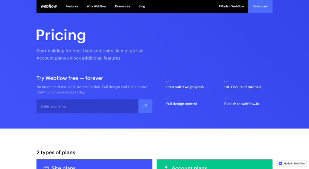 Activation model example: Webflow pricing page with freemium