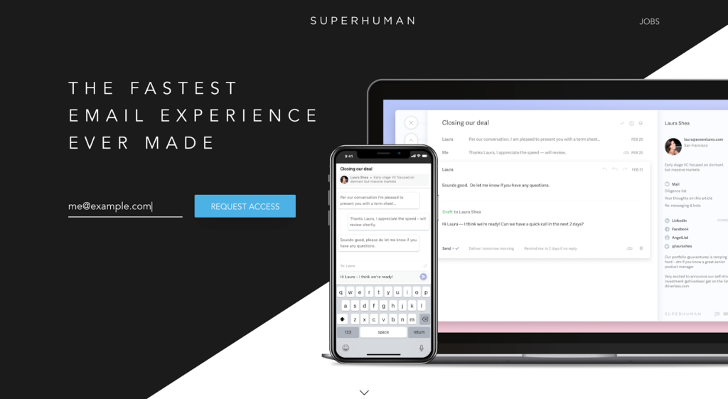 Activation model example: Superhuman home page