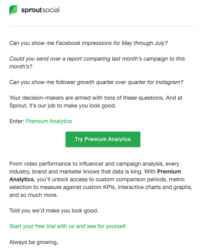 Sprout Social customer expansion email