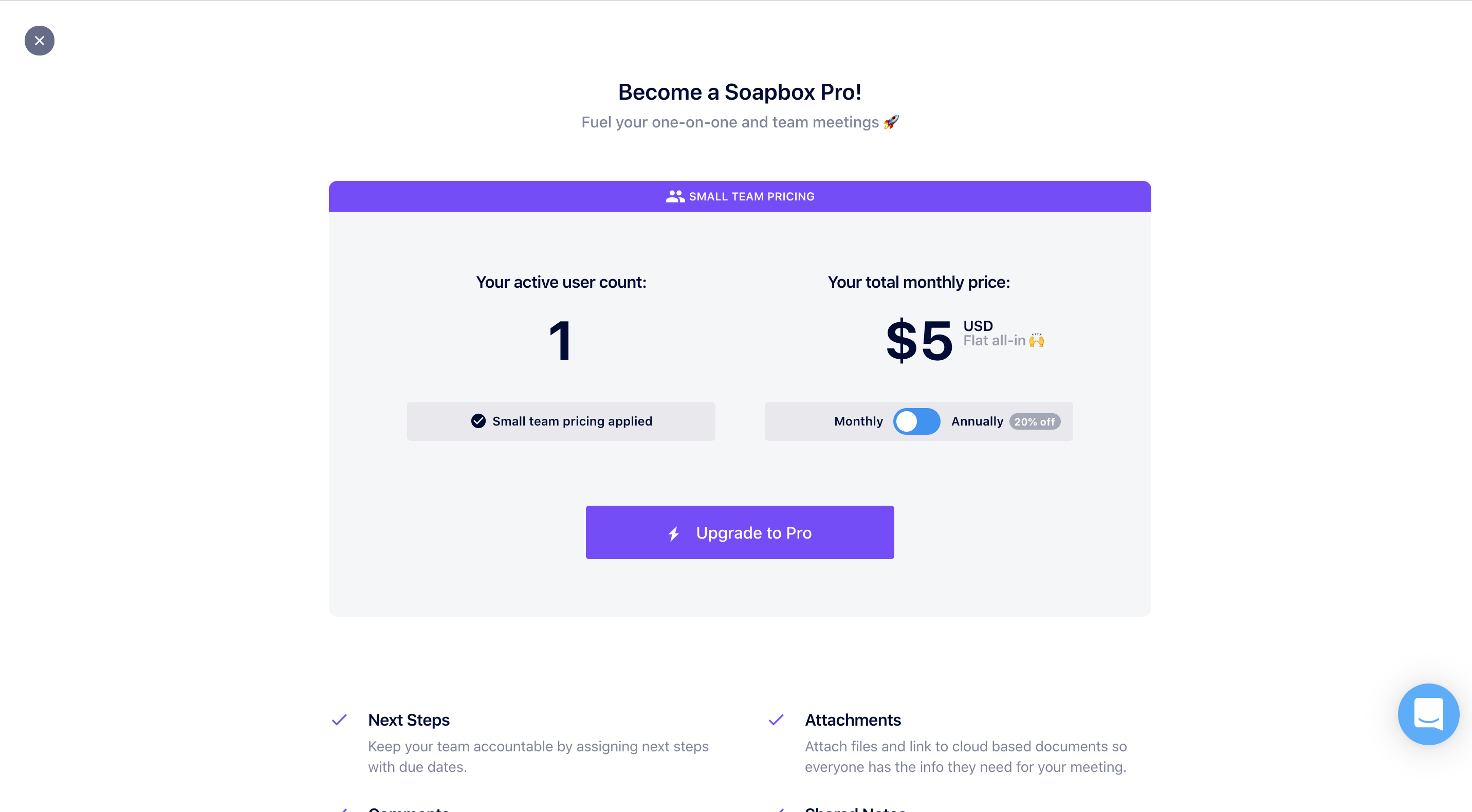 soapbox payment modal