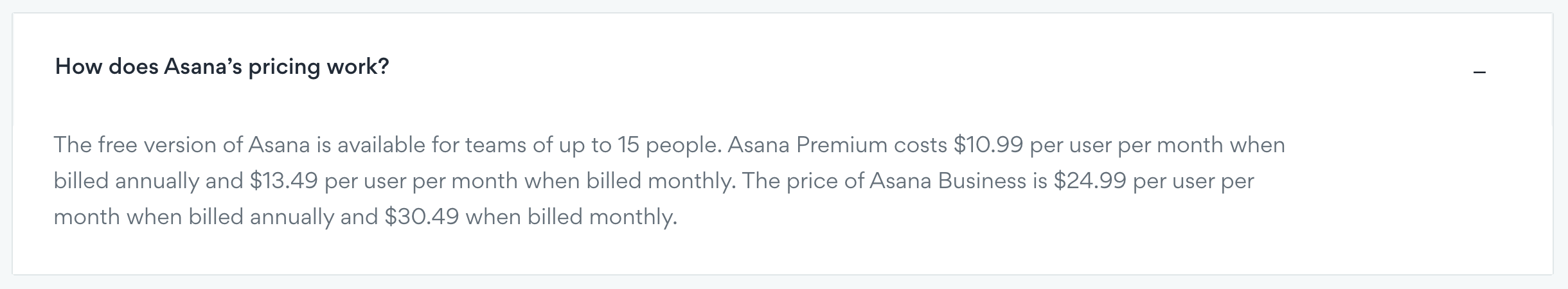 asana per user pricing