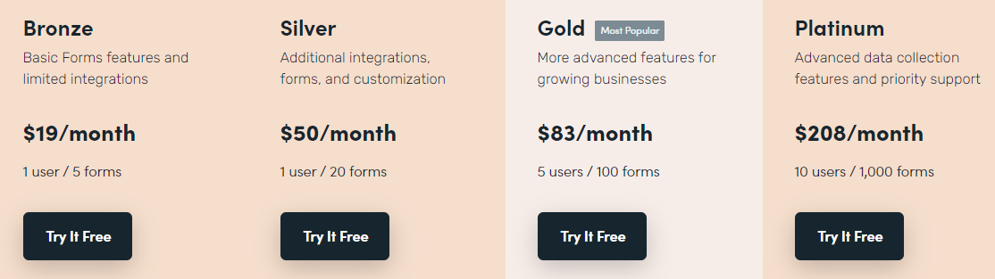 formstack tiered pricing