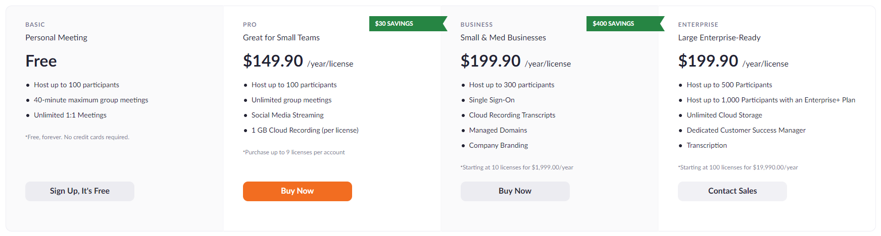 zoom tiered pricing model