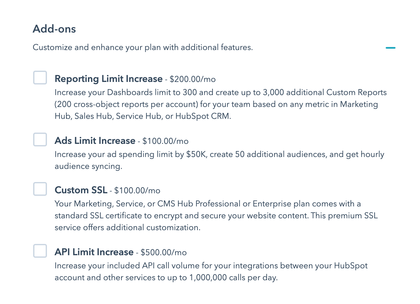 hubspot add-ons