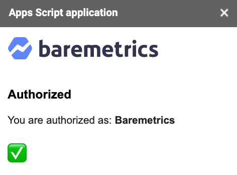 baremetrics google sheets integration authorize