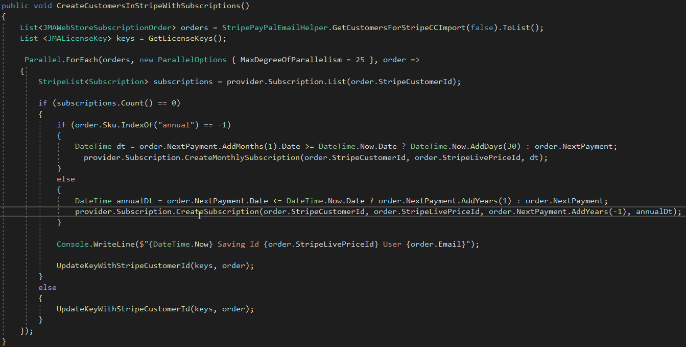 code for importing users