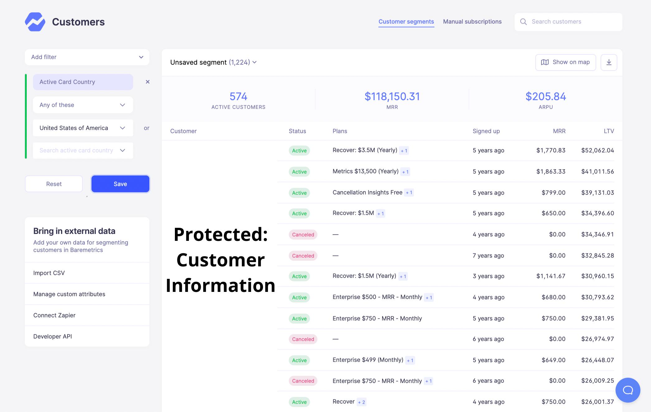baremetrics customer segmentation tool